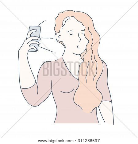 Selfie And Frontal Camera Girl With Smartphone Photo Isolated Character