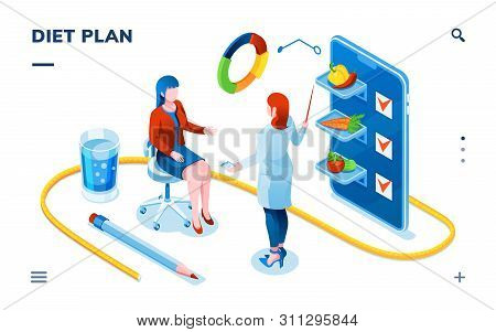 Dietician And Woman Patient For Smartphone Dietology Application. Dietitian Doctor Consultation Abou