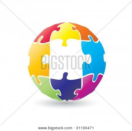 Colorful globe puzzle