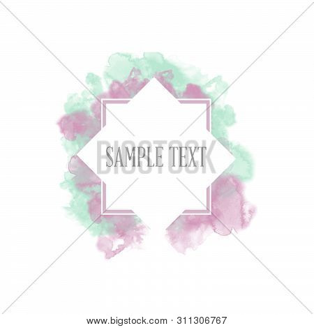 Watercolor Splatter Vector Background For Text, Banner Label, Logo Design. Watercolor Paint Splatter