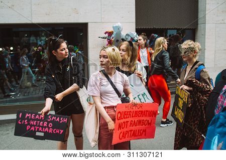 Helsinki, Finland - June 29, 2019: Activists With Posters