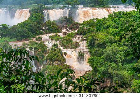 View Of The Famous Iguazu Falls From Brazilian Side. Iguazu Falls Are Waterfalls Of The Iguazu River
