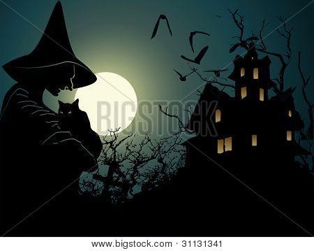 Halloween achtergrond met wich en hounted huis