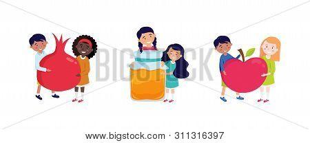 Shana Tova Greeting Card With Happy Kids Holding Rosh Hashana Symbols, Appla, Pomegranate And Honey.