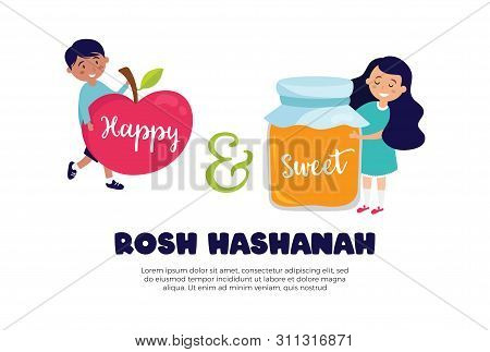 Happy And Sweet Greeting Card For Rosh Hashana. Vector