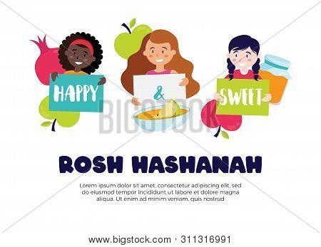 Kids Wishing Happy And Sweet Rosh Hashana Greeting Card. Vector