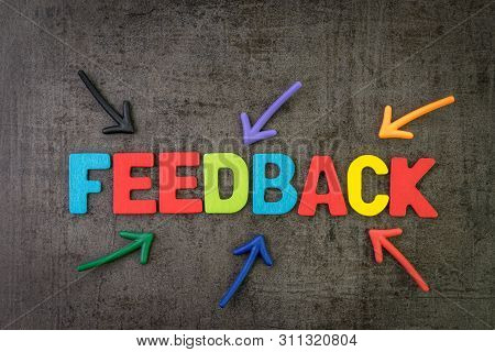 Customer Feedback, Review Or Rating Concept, Multi Color Arrows Pointing To The Word Feedback At The