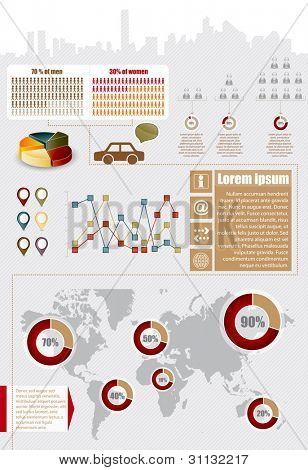 Infographic elements with maps, charts and icons