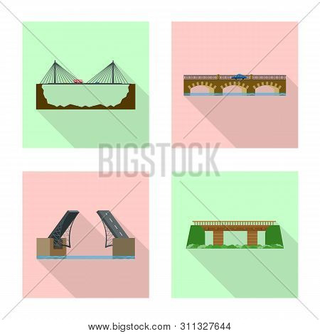 Vector Illustration Of Bridgework And Bridge Symbol. Set Of Bridgework And Landmark Vector Icon For