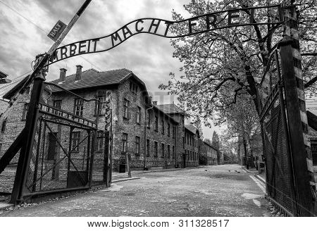 Oswiecim, Poland - May 6:  Arbeit Macht Frei - Etrance Gate Into Concentration Camp Auschwitz 1 On M