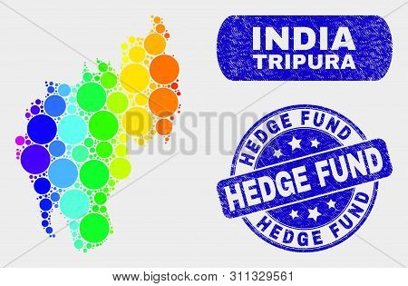 Spectrum Dot Tripura State Map And Rubber Prints. Blue Round Hedge Fund Grunge Seal. Gradient Spectr