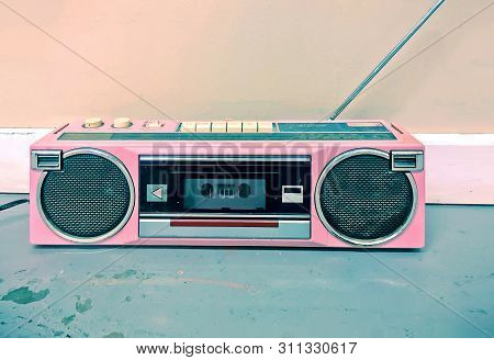 Colorful Pink 1980s / 1990s Vintage Boombox Stereo
