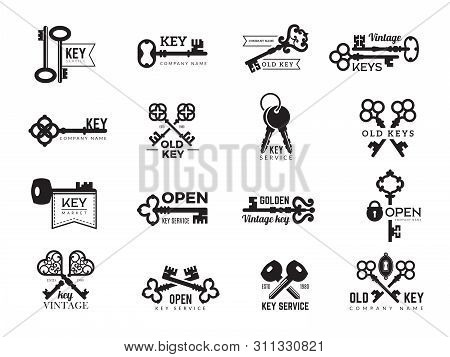 Keys Logotype. Real Estate Badges Door And Gate Access Symbols Silhouettes Of Ornate And Modern Stee