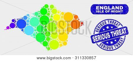 Rainbow Colored Spotted Isle Of Wight Map And Watermarks. Blue Round Serious Threat Grunge Seal Stam