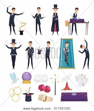 Magician. Show Performer In Costume And Items Cards Rabbit In Hat Magic Handkerchiefs Wand Cards Ste