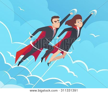 Business Superheroes Background. Male In Action Poses Powerful Teamwork Heroes Flying In Sky Vector