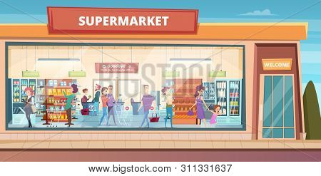 Supermarket Facade. People Shopping In Product Hypermarket Grocery Food Store With Male And Female B