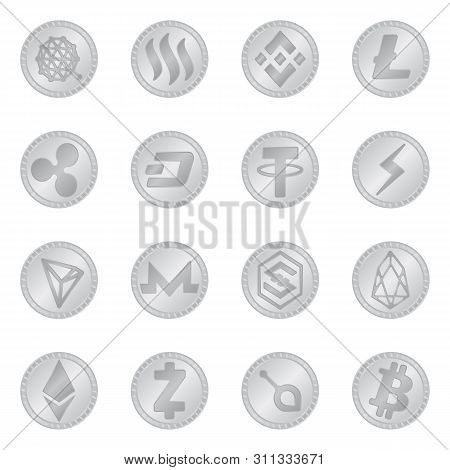 Isolated Object Of Cryptography And Finance Sign. Collection Of Cryptography And E-business Stock Ve