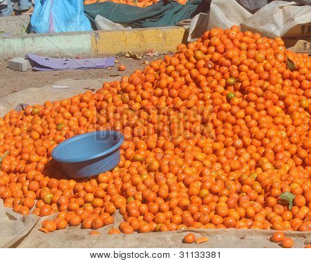 Clementines oranges for sale in traditional Moroccan street market