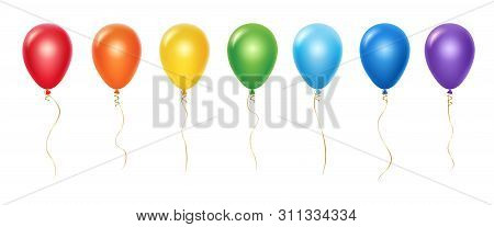 Realistic Rainbow Balloons Vector Set. Balloons With Ribbons Isolated On White Background. Balloon R