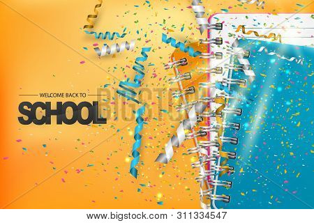 Welcome Back To School Celebration Background With A Pile Of Ring Notebooks And Falling Confetti And