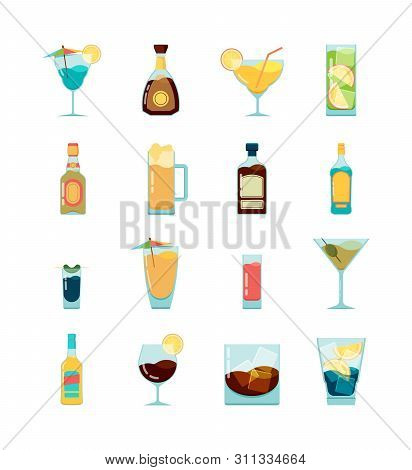 Cocktail Alcoholic Icon. Martini Vodka And Different Alcoholic Summer Drinks Vector Flat Pictures. I