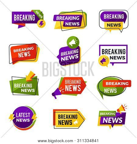 News Announce. Daily Geometric Media Informers For Website Advertising Information For Breaking News