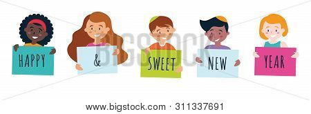 Kids Holding Signs Saying Happy Sweet New Year For Rosh Hashana. Vector