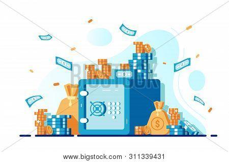Closed Bank Safe, Dollars In Deposit Box. Cash Bag, Safe Savings, Money Deposit, Bank. Investing On