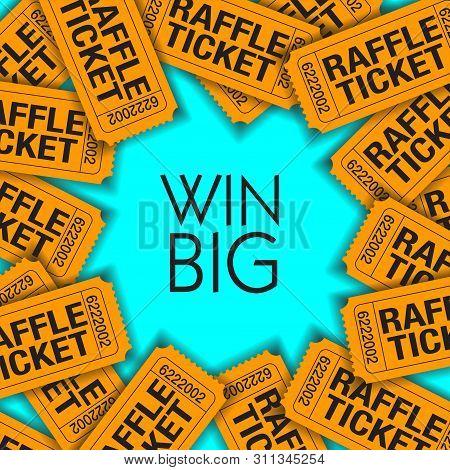 Win Big!  Is The Theme Of This Graphic With Space For Text.  Great For Raffle Poster.