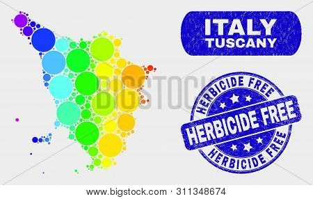 Spectral Dot Tuscany Region Map And Watermarks. Blue Rounded Herbicide Free Textured Seal Stamp. Gra
