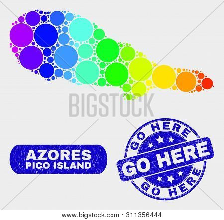 Rainbow Colored Spotted Pico Island Map And Seals. Blue Round Go Here Textured Stamp. Gradiented Rai