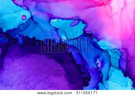 Violet, Pink And Blue Watercolor Background. Hand Drawn Abstract Aquarelle Brushstrokes. Vivid Multi