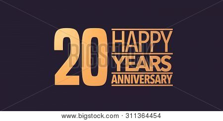 20 Years Anniversary Vector Icon, Symbol, Logo. Graphic Background Or Card For 20th Anniversary