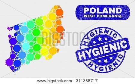 Rainbow Colored Dot West Pomeranian Voivodeship Map And Rubber Prints. Blue Rounded Hygienic Distres