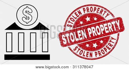 Vector Linear Dollar Bank Icon And Stolen Property Seal Stamp. Blue Rounded Textured Seal Stamp With