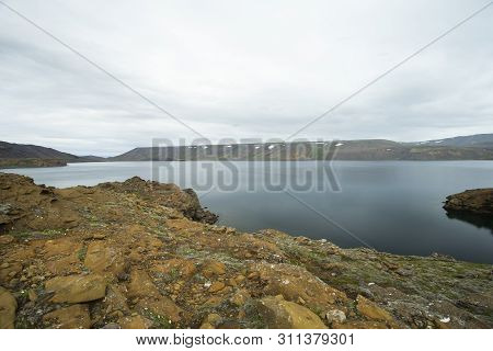 Image Shows A Natural Volcano Lake On Iceland