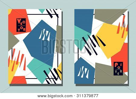Trendy cover with graphic abstract shapes . Two modern vector flyers in avant-garde collage style. Geometric wallpaper for business brochure, cover design. poster