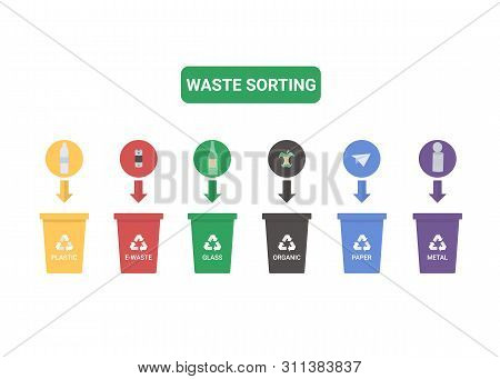 Colored Illustration Of Separation Garbage Bins With Plastic, E-waste, Glass, Organic, Paper And Met