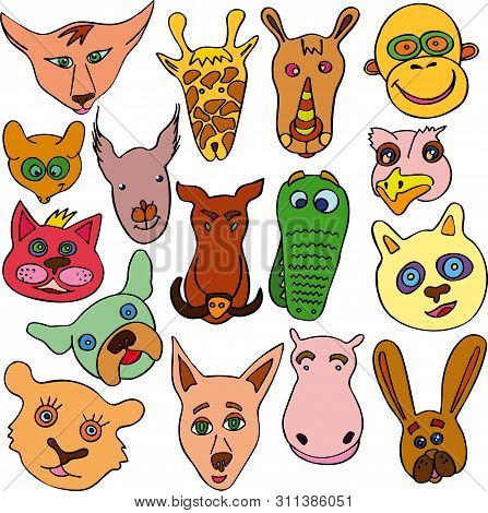 Set Of Doodle Funny And Cute Animals