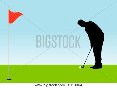 Golfer On Putts Golf Ball On The Green [Alternate Version]
