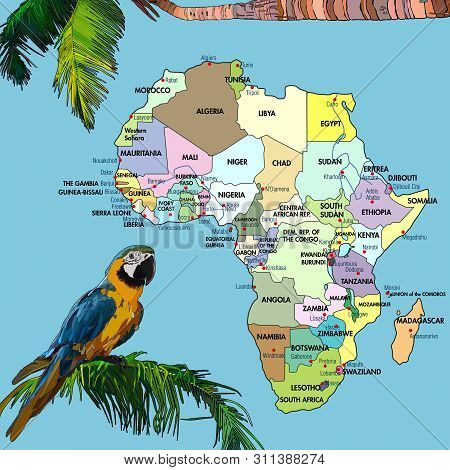 Highly Detailed Map Of Continent, Located On The African Continental Plate With Animals. Background