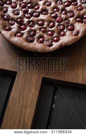 Homemade Dessert. Yummy Chocolate Brownie Pie With Tart Cherries On Dark Oak Board Top View Copy Spa