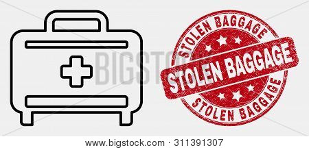 Vector Stroke Medical Baggage Icon And Stolen Baggage Seal. Blue Rounded Scratched Seal With Stolen