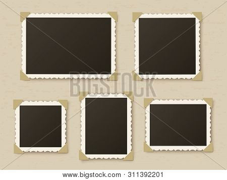 Retro Photo Frames. Vintage Paper Picture Frame Template For Nostalgia Scrapbook. Retro Photos Borde