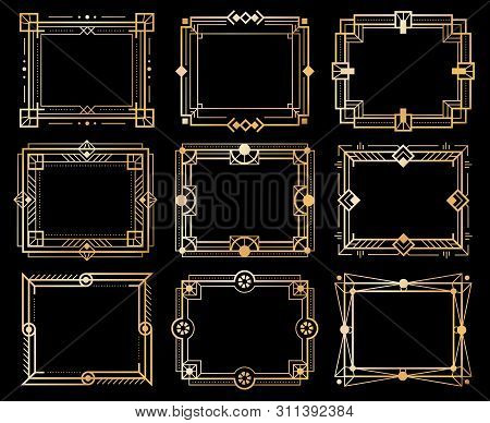 Art Deco Frames. Gold Deco Image Frame Borders, Golden Geometry Line Patterns. 1920s Vintage Luxury