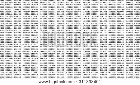 Digital bits and bytes in black color on a computer screen with white background. poster