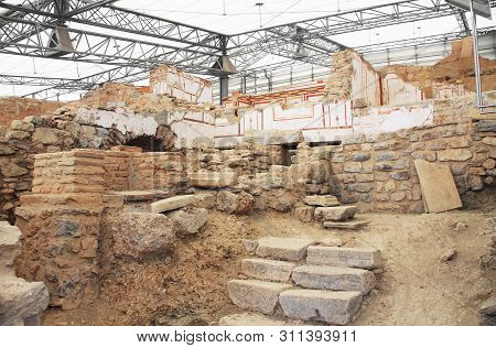 Archaeological Remains With Decorative Frescoes Paintings In A Hillside House On The Slopes Of The A
