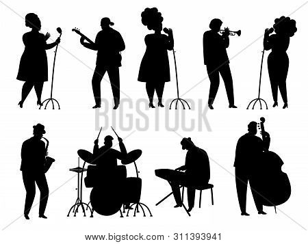 Black Silhouette Jazz Musicians, Singer And Drummer, Pianist And Saxophonist. Illustration Of Musica