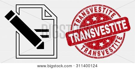 Vector Linear Edit Text Page Icon And Transvestite Seal. Blue Rounded Scratched Seal Stamp With Tran